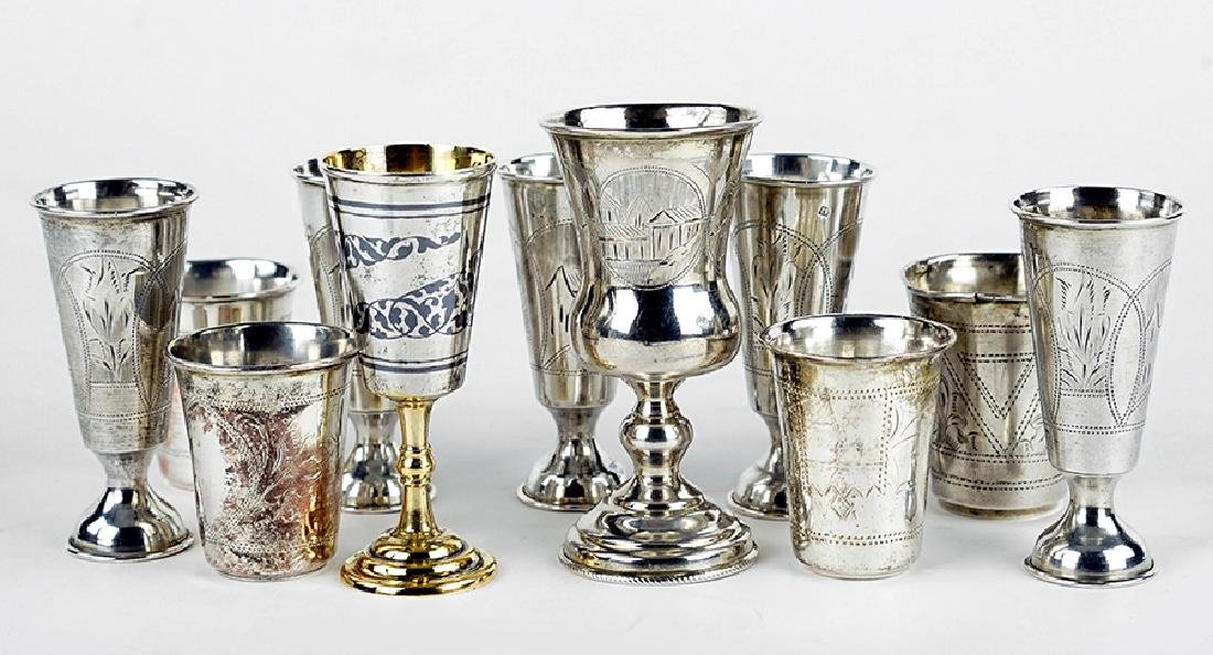 A Collection of Russian .84 Silver Cups.