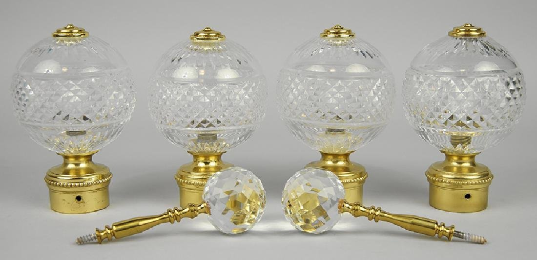 A Set of Four Waterford Crystal Drapery Rod Finials.
