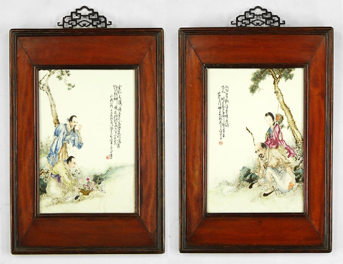 Two Chinese Painted Porcelain Plaques.