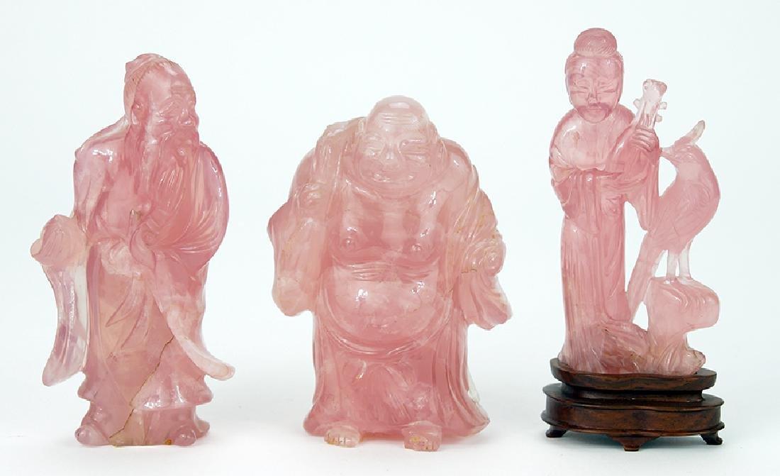 Three Rose Quartz Carvings.