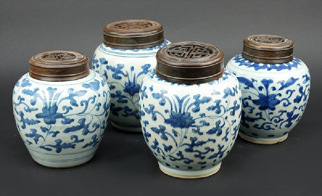 Four Blue and White Porcelain Ginger Jars.