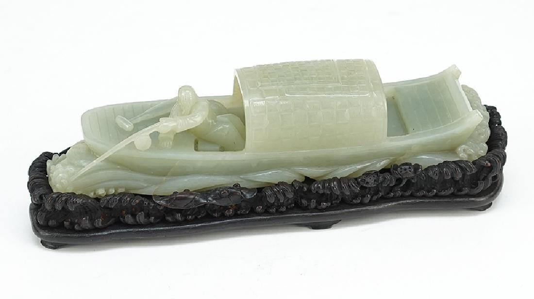 A Carved Jade Fisherman and Boat.