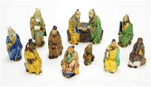 A Set of Glazed Ceramic Chinese Immortal Figures.