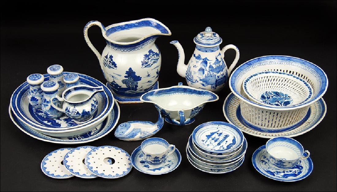 A Collection of Chinese Export Canton Porcelain Table