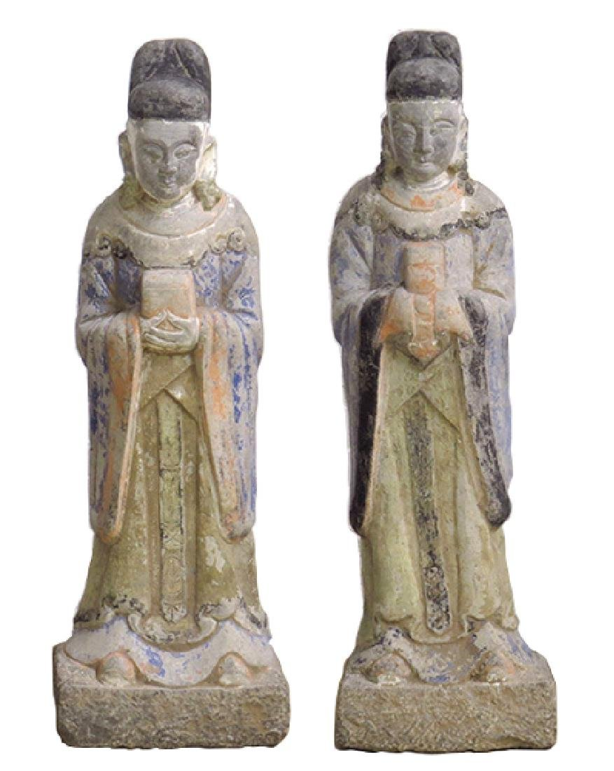 A Pair of Chinese Stone Attendants.