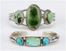 Two Native American Turquoise and Silver Cuff