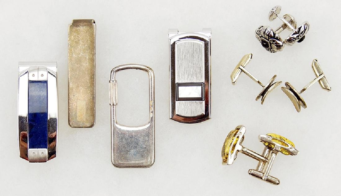 Three Pairs of Sterling Silver Cufflinks.