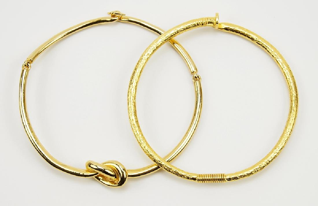 A Kenneth Lane Goldtone Nail Collar Necklace.