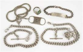 Two English Silver Watch Chains.