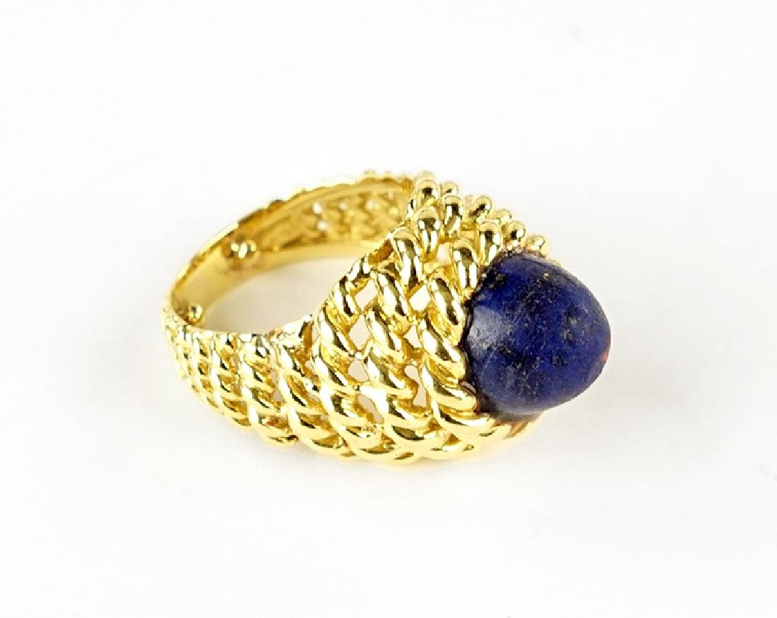 A Lapis and 18 Karat Yellow Gold Ring.