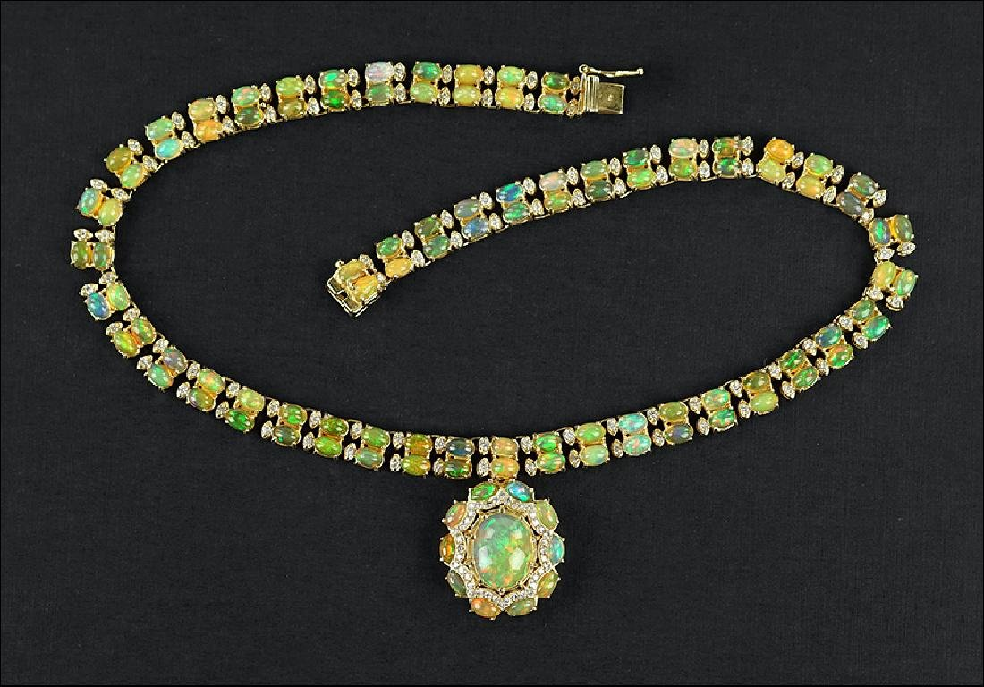 An Opal and Diamond Necklace.