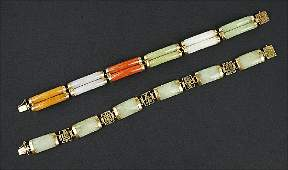 Two Chinese Jade and 14 Karat Yellow Gold Link