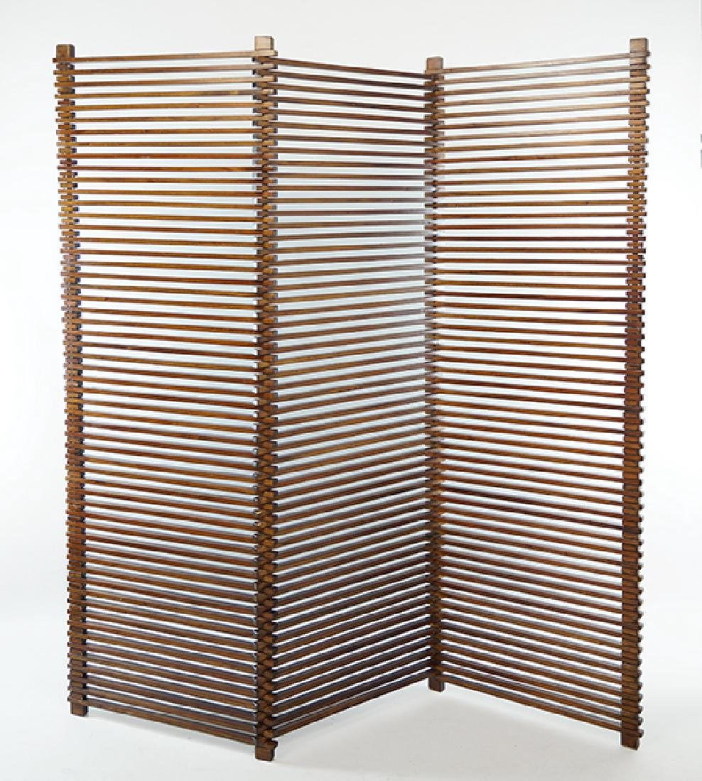 A Pair of American Modern Three-Panel Screens.
