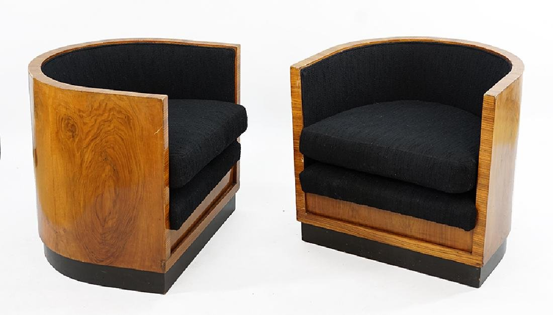 A Pair of Biedermeier Syle Barrel Back Club Chairs.