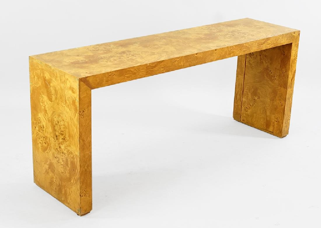 A Contemporary Burl Veneer Parson's Table.