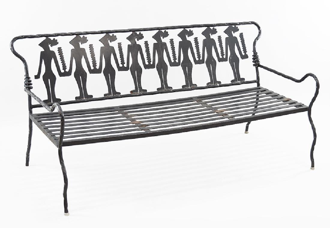 A Pair of Welded and Wrought Iron Garden Settees.