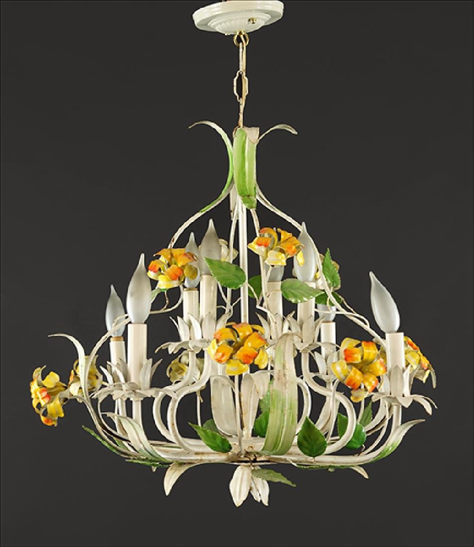 A Tole Painted Eight-Light Chandelier.