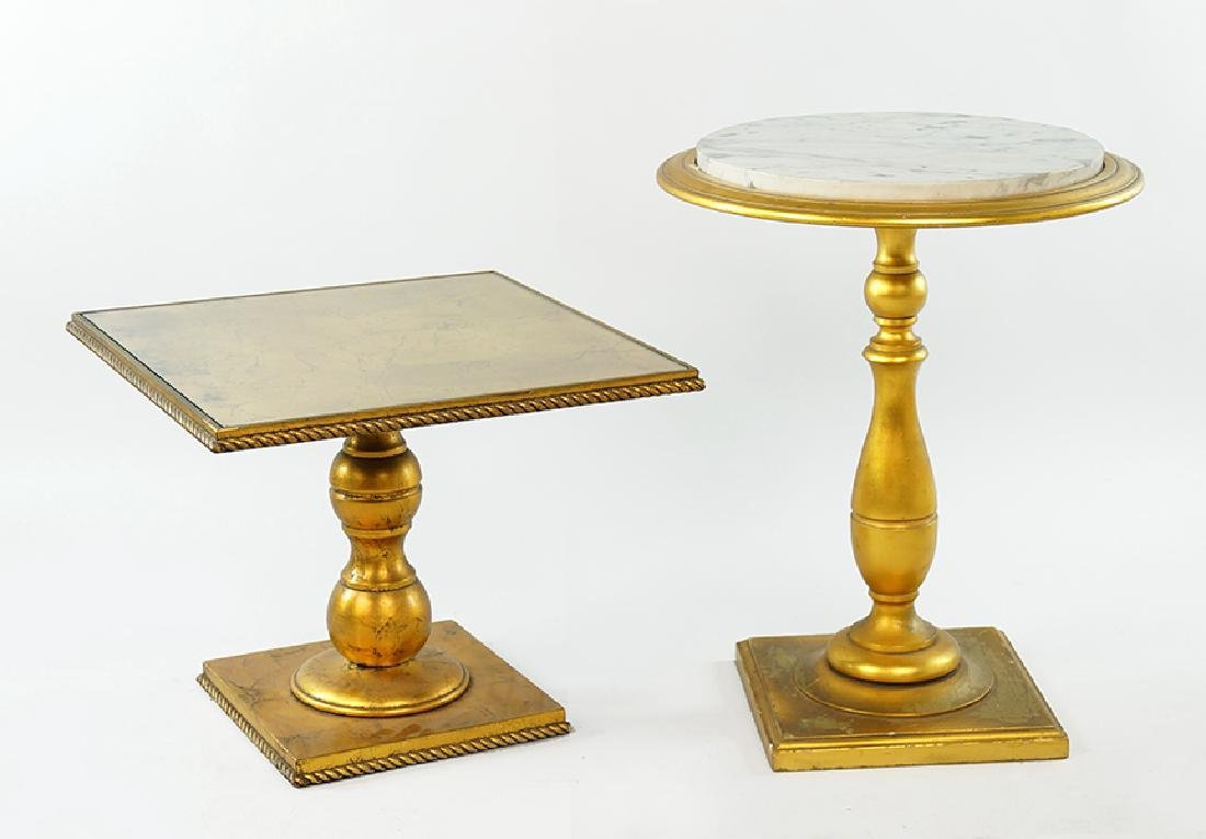 Two Gilt Wood Side Tables.