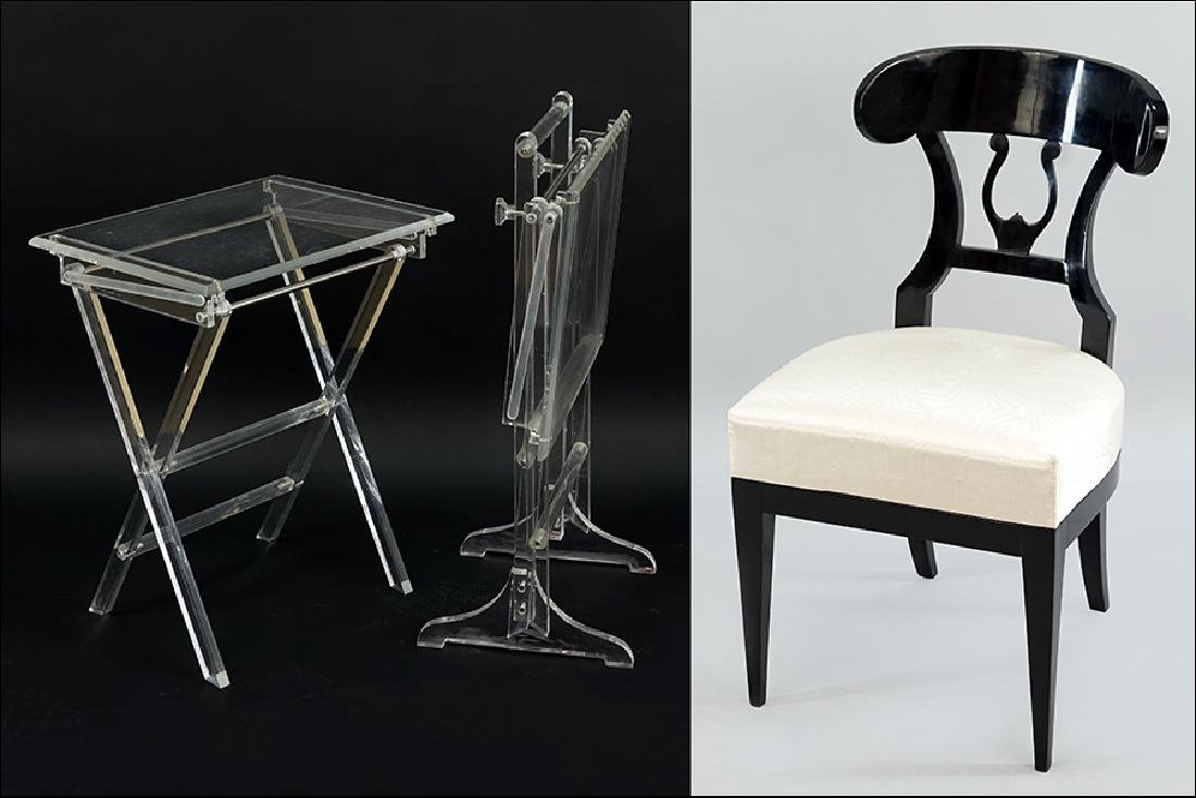 An Ebonized Wood Side Chair.