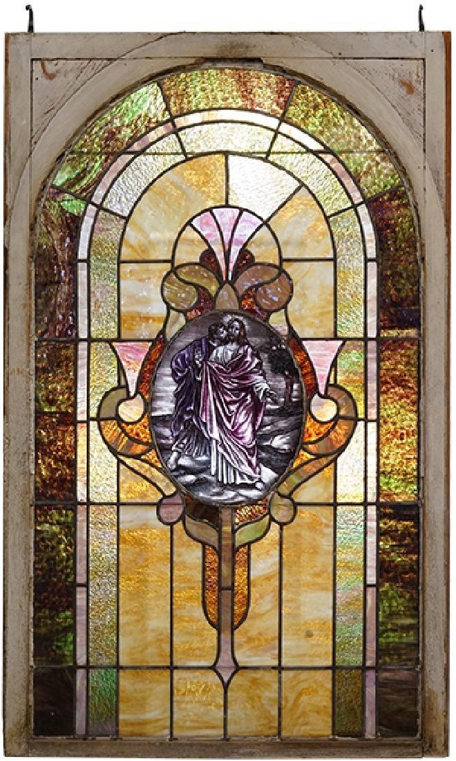 A Leaded Glass Window.