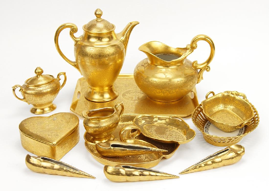 A Collection of Gilt Porcelain Articles.