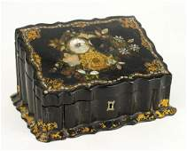A Victorian Black Lacquered and Mother-of-Pearl Inlaid