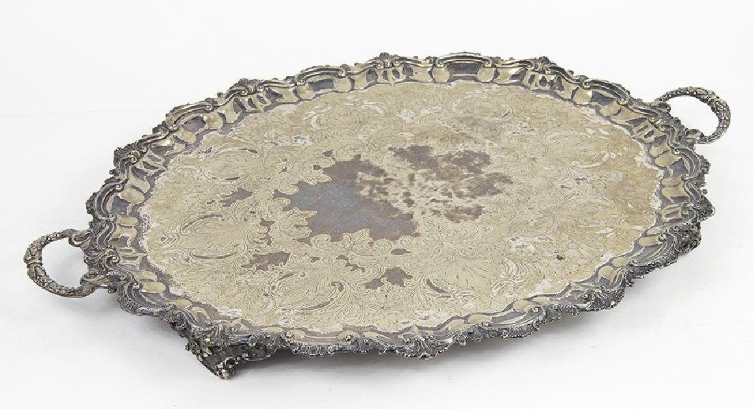 A Silverplate Footed Oval Serving Tray.