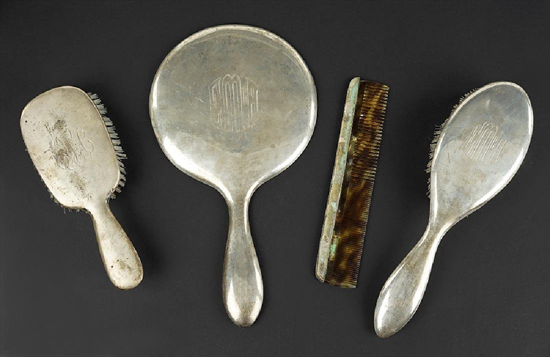 A Suite of Silver Vanity Articles.