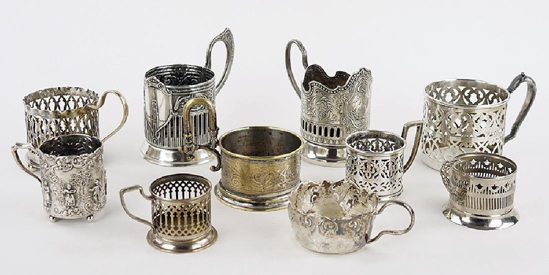 A Collection of Silverplate Tea Glass Holders.