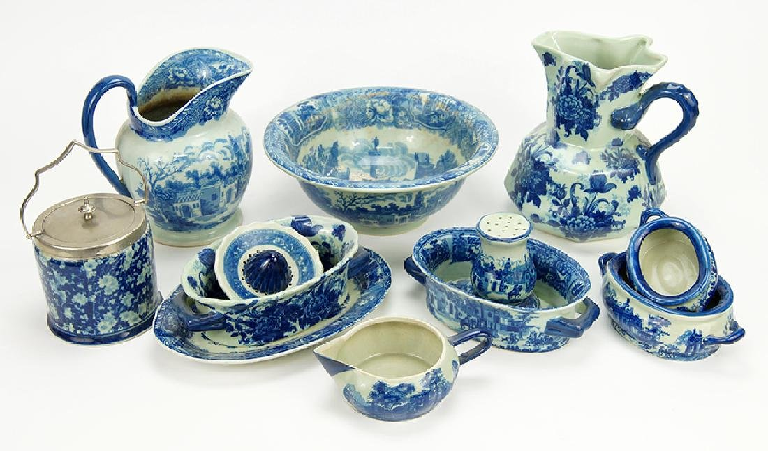 A Collection of Blue and White Porcelain Table