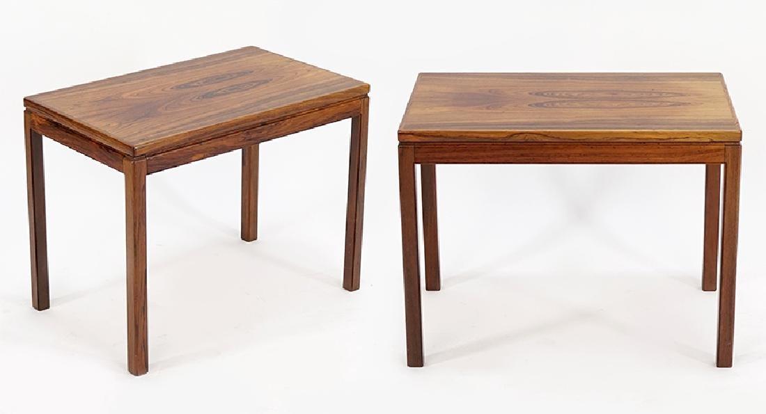 A Pair of Rosewood Veneer Side Tables.