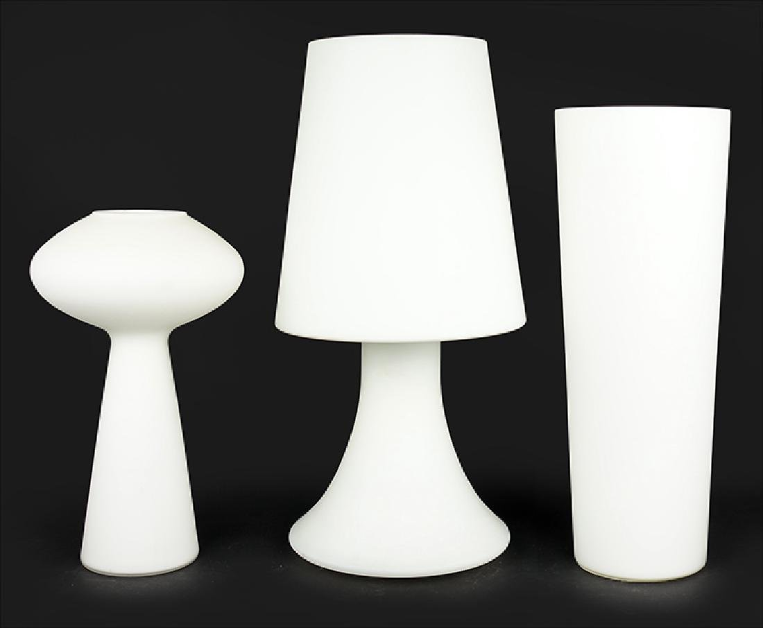 Three Frosted Glass Table Lamps.