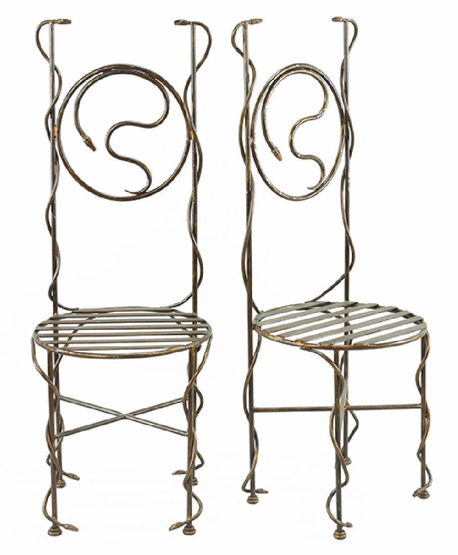 A Pair of Giacometti Style Chairs.