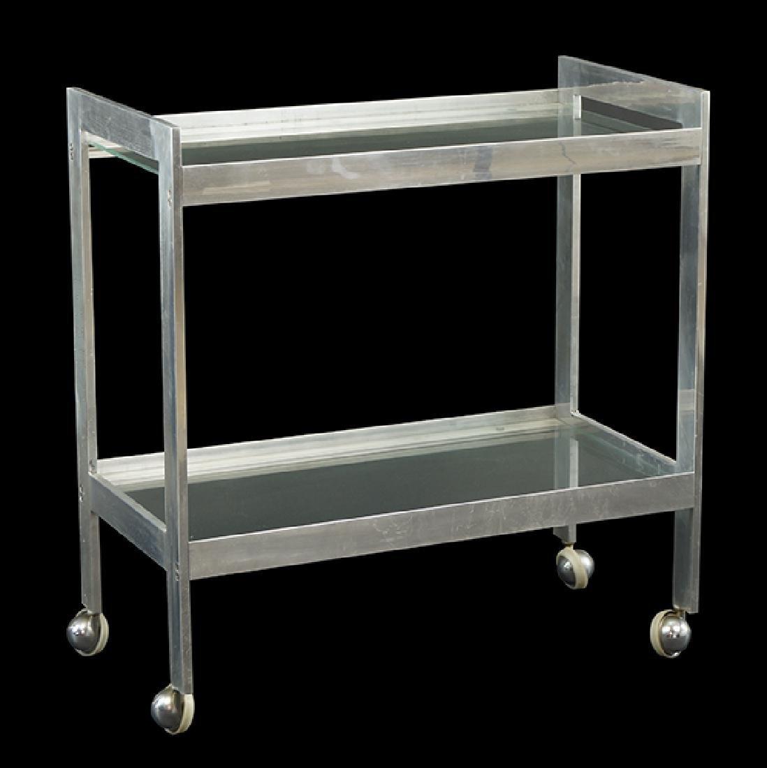 A Stainless Steel Bar Cart.