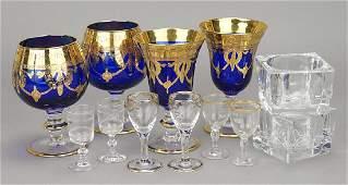 Bohemian Blue and Gold Stemware.
