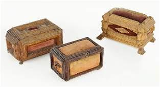Three Tramp Art Boxes.