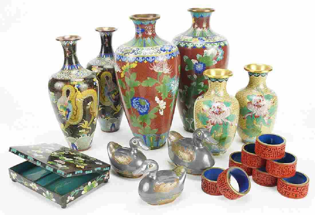 Three Pairs of Cloisonne Vases.