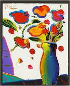 Peter Max (German-American, B. 1937) Flowers.