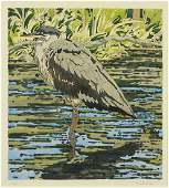 Neil Welliver (American, 1929-2005) Great Blue Heron.