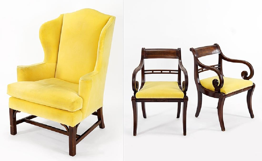 A Pair of Mahogany Open Armchairs.
