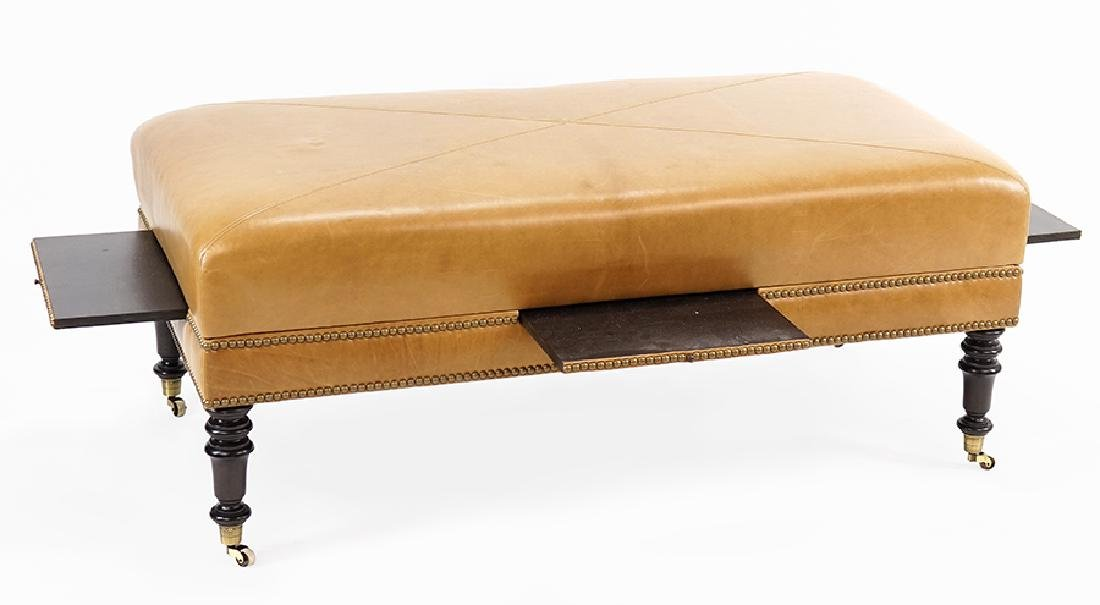 A Contemporary Leather Ottoman.