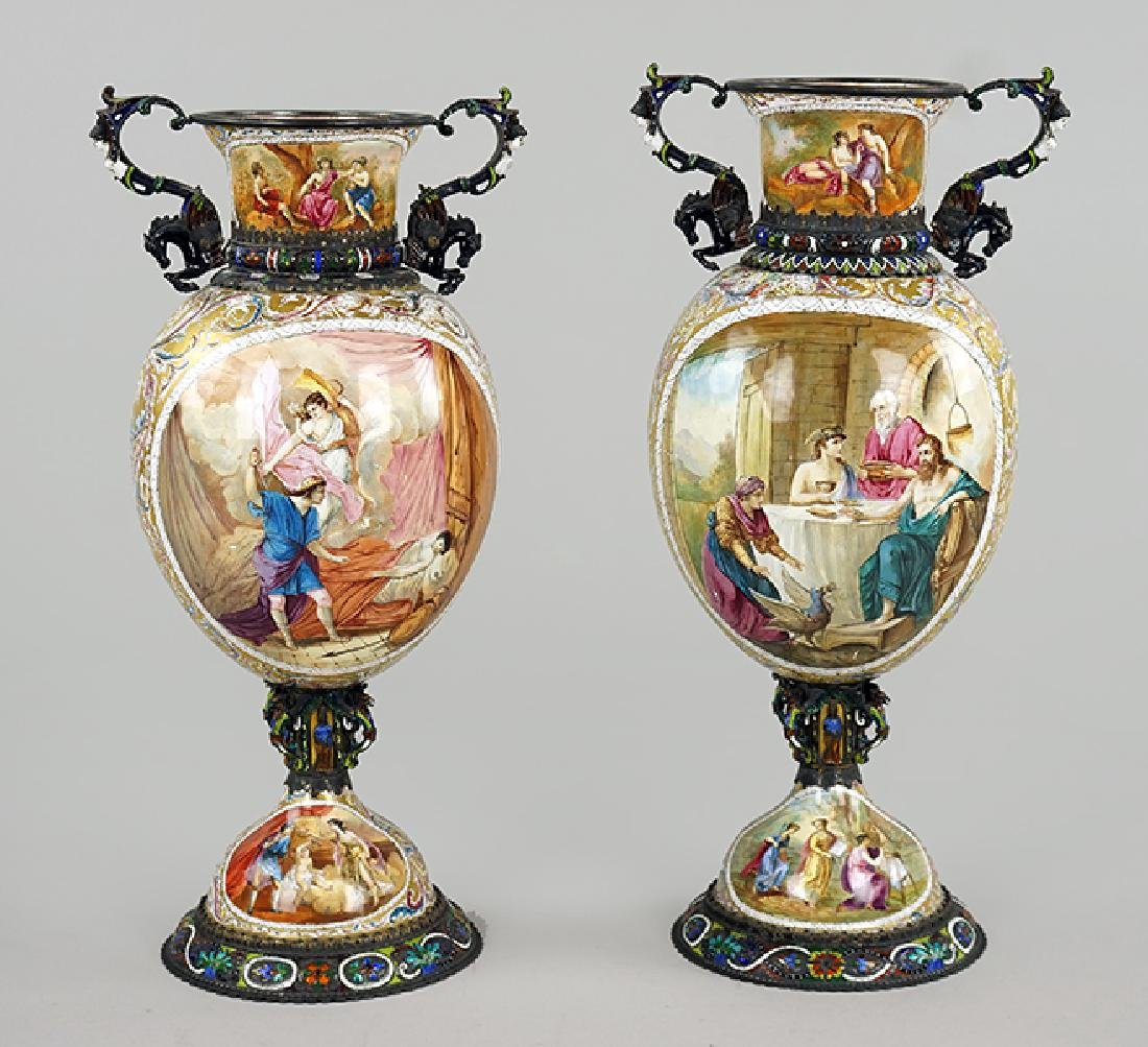 A Pair of 19th Century Viennese Enamel Urns.