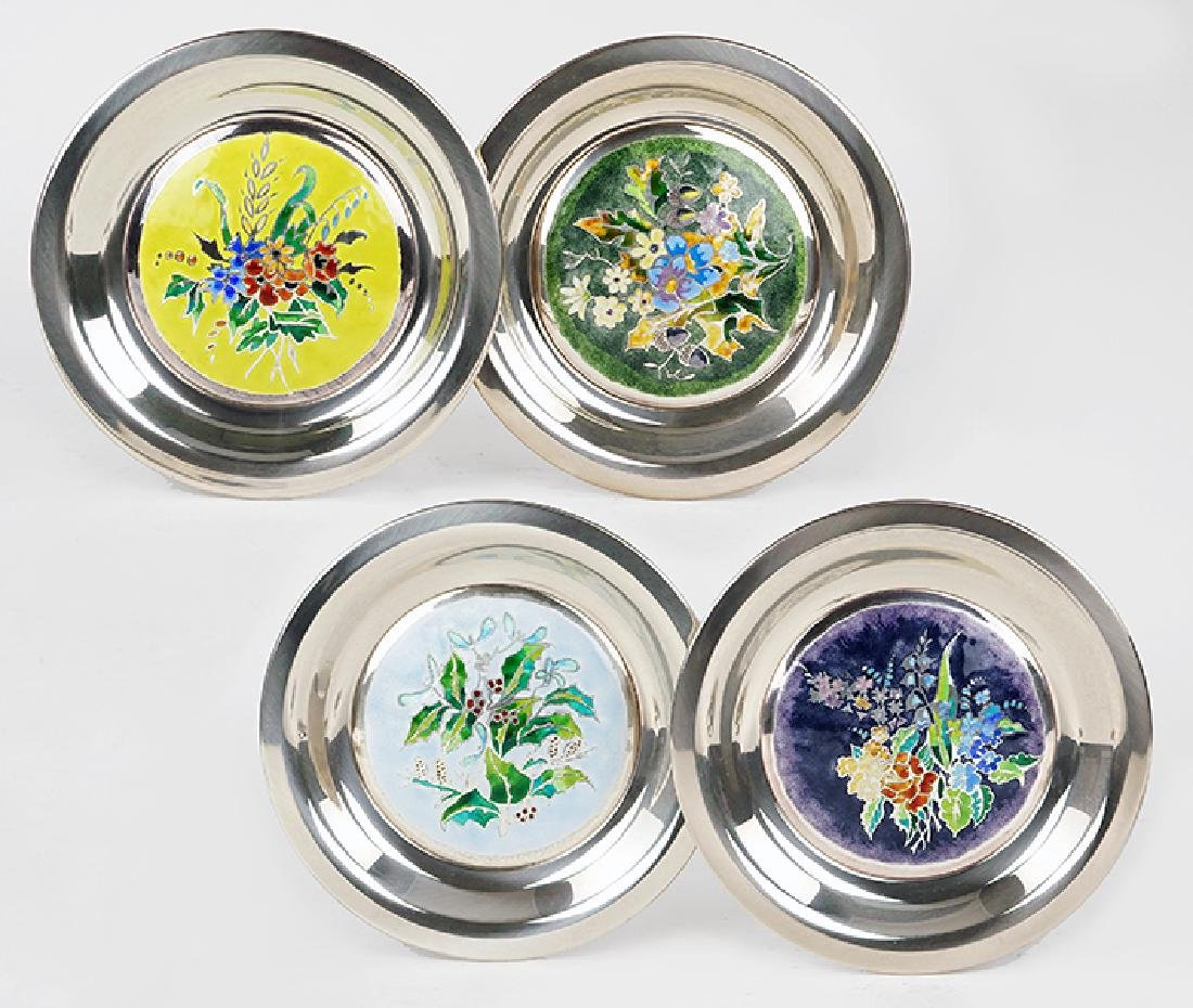 A Set of Four Franklin Mint Sterling Silver Plates.