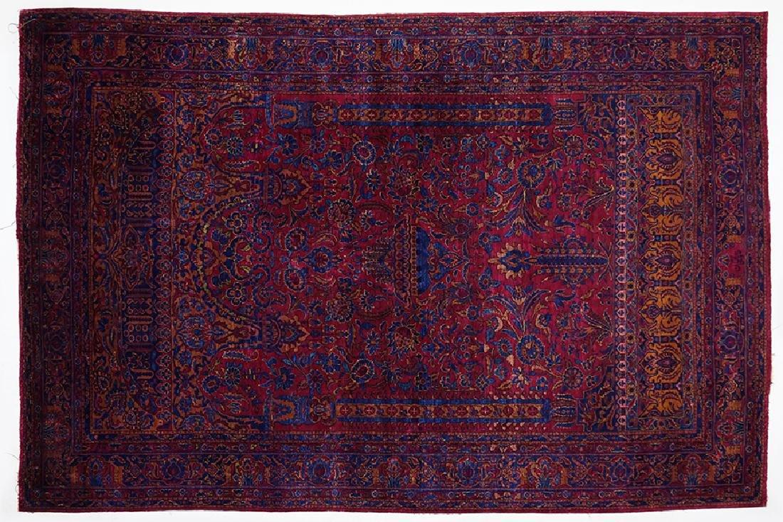 An Antique Silk Kashan Rug.