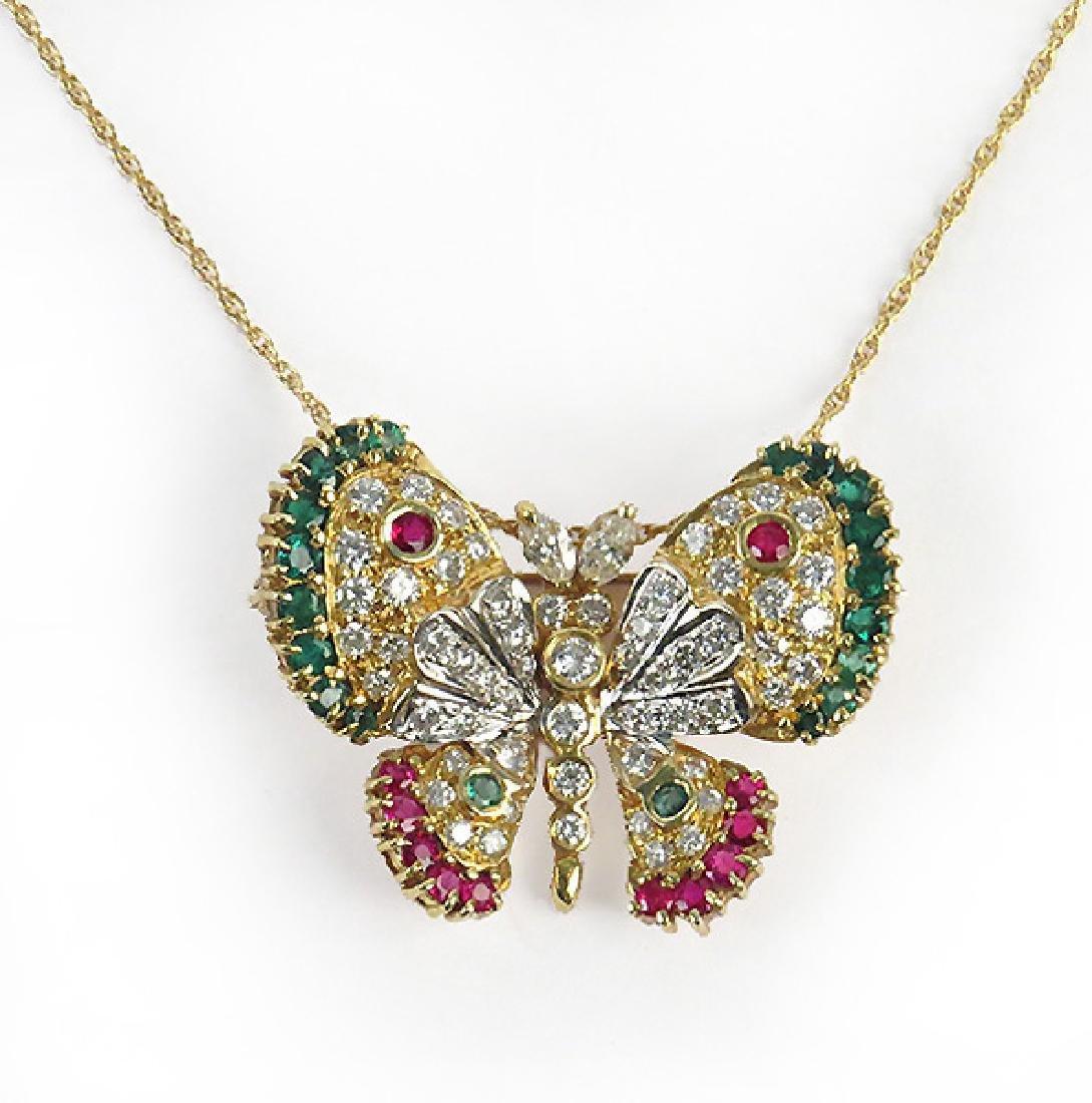 Gem Set 14 Karat Yellow Gold Butterfly Brooch /