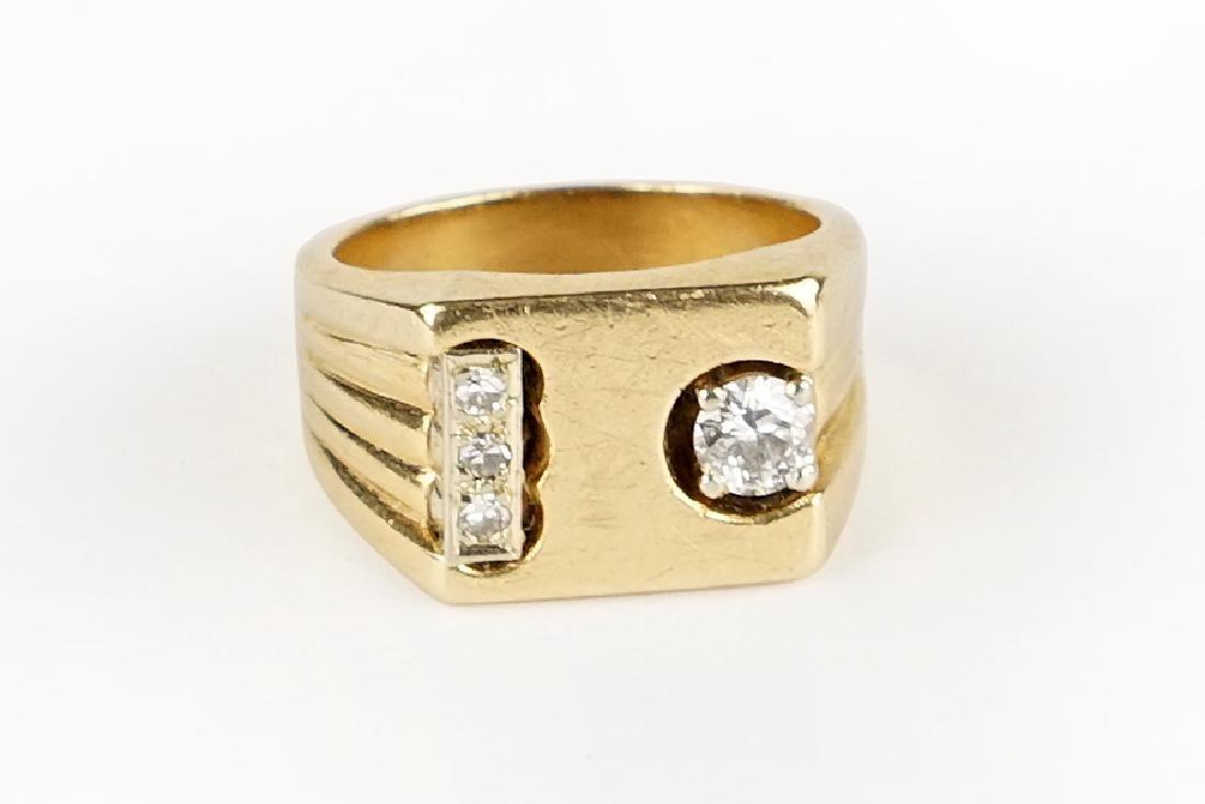 A Diamond and 14 Karat Yellow Gold Man's Ring.