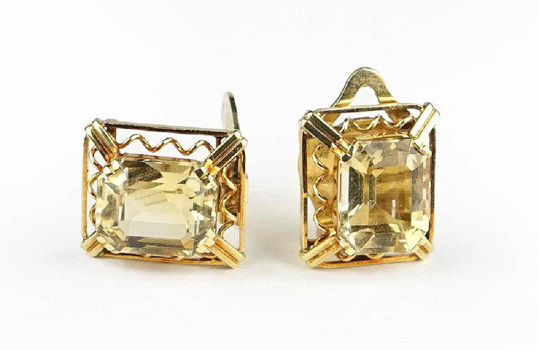 A Pair of Citrine Earclips.