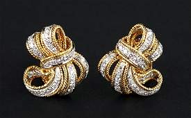 A Pair of Diamond Bow Earclips.