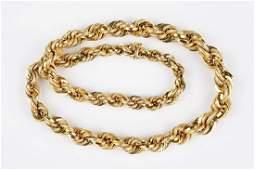 An 18 Karat Yellow Gold Rope Necklace