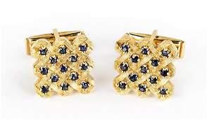 A Pair of 14 Karat Yellow Gold Cufflinks